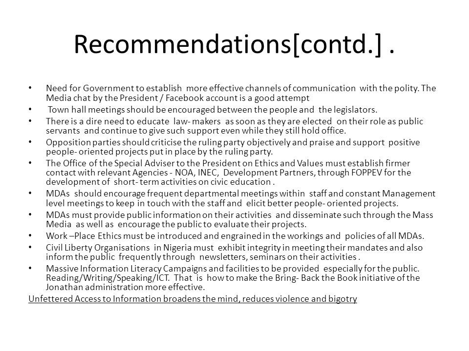 Recommendations[contd.] .